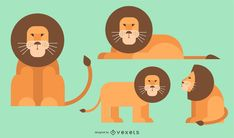 Flat rounded geometric style vector of lions in different poses and angles. Powerpoint Free, Creative Powerpoint, Vector Design, Vector Art, Slide Design, Layout Template, Create A Logo, Layout Design, Your Cards