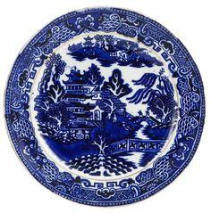 Six Antique English Blue & White Side Plates