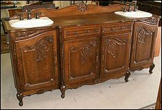 Antique His & Her Bathroom Vanity: French Oak Sideboard for Two Delta Bronze Faucets and Kohler sinks
