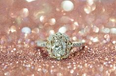 Rose Gold Glitter Oval Engagement  Ring By Marion Rehwinkel Jewellery
