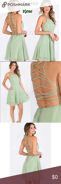 Sage Dress with Criss-Cross Back Size M This GORGEOUS Sage Colored Dress is perfect for Spring and Summer. It is fully lined and has the most unique back with criss-cross straps. I am in ❤️❤️ with this dress! This is the only one and it is a size M. Please ask questions.. I am always here and will respond quickly. Happy POSHING!  Scarlet Rose Boutique Dresses