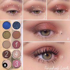 Pink Eye Makeup, Eye Makeup Brushes, Makeup Eye Looks, Eye Makeup Art, Smokey Eye Makeup, Eyeshadow Makeup, Unique Makeup, Cute Makeup, Hooded Eye Makeup Tutorial