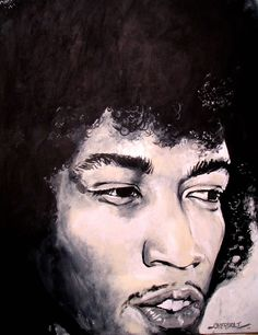 "Jimi Hendrix - ""A Moment"", original acrylic on canvas portrait by Kim Overholt."