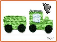*Grüne Eisenbahn*  Die Applikation zaubert aus allem ein Unikat. Egal ob auf einer Kindergartentasche, einer Kuscheldecke, Mütze, T-Shirt usw.   Gehäkelt aus 100% Baumwolle Catania von...