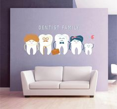 Teeth wall decal tooth wall decal family dentist dental clinic wall decal Orthodontist Dentist wall decal Dentist Office Wall Decor - All About Oral Care 2020 Dental Clinic Logo, Dentist Logo, Dentist Clinic, Pediatric Dentist, Dental Art, Dental Office Design, Design Offices, Modern Offices, Cabinet Medical