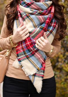 Oversized Plaid Blanket Scarf, Asos Oversized Scarf in Check