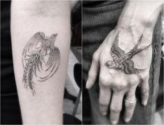 Vögel Tattoos mit feinen Linien am Arm