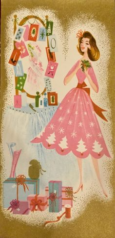 mid-century vintage Christmas woman in pink tree dress and cards on mirror Vintage Christmas Images, Retro Christmas, Vintage Holiday, Christmas Pictures, Christmas Girls, Holiday Greeting Cards, Vintage Greeting Cards, Christmas Greetings, Vintage Illustration Art