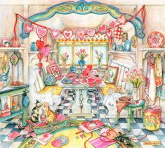 Valentine Nook, a traditional puzzle Puzzle Shop, Art Pictures, Art Pics, Baby Shower Balloons, Winter Solstice, Watercolor Illustration, Color Inspiration, Folk Art, Art Drawings
