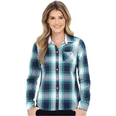 U.S. POLO ASSN. Poplin Woven Sport Plaid Shirt Women's Long Sleeve... ($23) ❤ liked on Polyvore featuring tops, multi, button down collar shirts, collared shirt, lightweight long sleeve shirt, blue collared shirt and long sleeve shirts