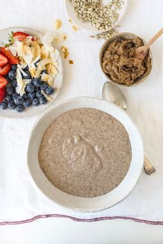 Coconut and FlaxSeed Porridge with Spiced Nut and Date Butter