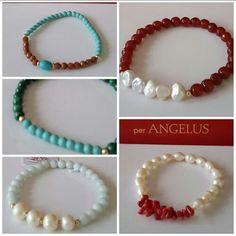 Pulseras con perlas, piedras naturales y oro 14kts