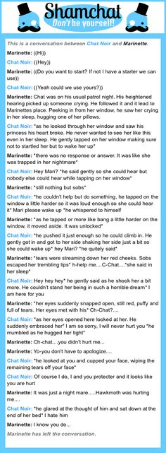A conversation between  Marinette and Chat Noir