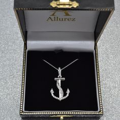 Express your affinity for everything nautical with this stunning diamond ribbon anchor pendant necklace in white gold. Expertly crafted with a total diamond weight of in G-H Color, clarity. Key Pendant, Diamond Pendant Necklace, Diamond Necklaces, Rose Gold Chain, Station Necklace, Summer Jewelry, Fine Jewelry, Jewellery, Or Rose