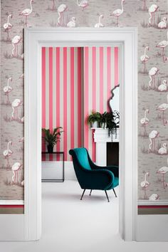 Available to buy at F&P Interiors. This eye-catching Glastonbury Stripe Wallpaper by Cole & Son forms part of the new elegant and sophisticated Marquee Stripes Collection. From bold, graphic super-sized stripes, to delicate, hand rendered fine lines. Quirky Wallpaper, Flamingo Wallpaper, Striped Wallpaper, Original Wallpaper, Wall Wallpaper, Lines Wallpaper, Cole Son, Cole And Son Wallpaper, Stripes Design