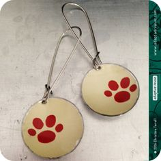 Burnt Orange Paws--Upcycled Tin Earrings by christineterrell on Etsy