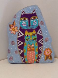 Whimsical Painted Cat Rock by Gourdgal2016 on Etsy