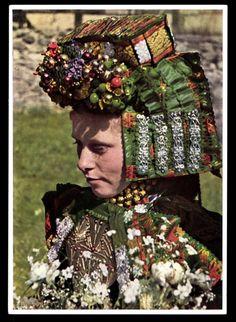 Europe | Portrait of a German bride wearing a traditional weddindress and bridal headdress, Schwalm-Hessen, Germany #wedding