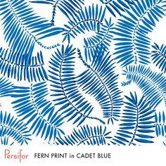 Persifor Fern Print in Cadet Blue. Bold, fun Pantone colors. Unique print. Plants.