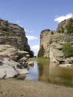 Devil's Gate a gorge on the Sweetwater River a few miles southwest of Independence Rock. The site, significant in the history of western pioneers, was a major landmark on the Mormon Trail and the Oregon Trail.