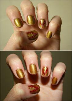 Katniss Everdeen the Girl on Fire! nails