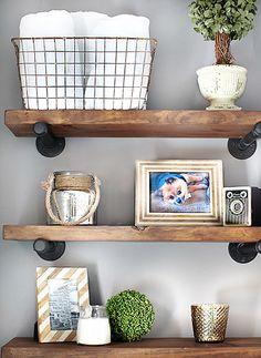 diyshelves Rustic Wood Shelving, Industrial Floating Shelves, Industrial Shelving, Diy Shelving, Wood And Pipe Shelves, Diy Bathroom Shelving, Plumbing Pipe Shelves, Plumbing Pipe Furniture, Decorating Bathroom Shelves