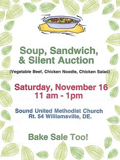 Soup, Sandwich and Silent Auction - Saturday, November 16, 2013 from 11:00am until 1:00pm. This event is a fundraiser to support the church and hall as well as our outreach efforts in the community (Nursing Home Ministry, Especially for You, etc). You are invited to join us and if you would like to make a donation please contact Tracey Berry at (410) 352-5626.  https://www.facebook.com/events/723883524291812/