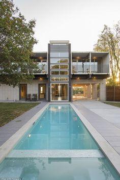 beautiful long backyard swimming pool