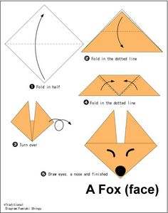 Origami Easy Foxes To Draw - Bunny origami for kids. Here is a list of easy origami that anyone can have fun making. Origami Fox Face Easy Origami For Kids Origami Instructions To. Origami Ball, Instruções Origami, Origami Fish, Useful Origami, Origami Folding, Origami Duck, Bunny Origami, Origami Swan, Origami Instructions For Kids