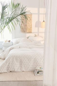 Tufted Dot Duvet Cover Serenity inspiration with this cozy white bedroom as possible. All White Bedroom, Dream Bedroom, Home Bedroom, White Bedding, Peaceful Bedroom, White Bed Sheets, Modern White Bedrooms, Tan Bedroom, Nordic Bedroom