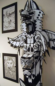 Totem+pole+Sculpture+(cardboard)+2+by+CrossIllustration.deviantart.com+on+@DeviantArt