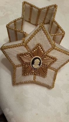 """Star shaped trinket or jewelry box.  Handmade plastic canvas.  Great at accent or as a gift! 5"""""""
