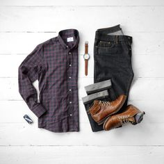 Casual Men's Style, Flannel, Denim and Boots! #boots #denim #menswear