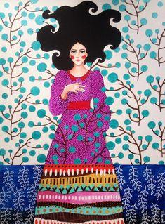 hülya özdemir (i can't take your place) Art And Illustration, Painting Inspiration, Art Inspo, Foto Art, Klimt, Portrait Art, New Art, Fantasy Art, Art Drawings