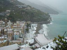 Amalfi Coast with snow