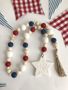 of July Patriotic Star Red White and Blue Farmhouse Wood Bead Decor – Personel Celebration Fourth Of July Decor, 4th Of July Decorations, July 4th, Birthday Decorations, Wood Bead Garland, Beaded Garland, Ribbon Garland, Fabric Garland, Star Garland