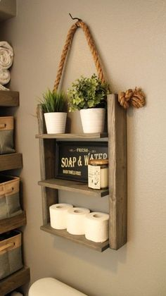 Hanging Wood and Rope Ladder Shelf The Hanging Rope  Ladder Shelf will make a statement in any home with its rustic yet modern flare and can be utilized anywhere in your house without worry. It works great as additional storage for your bathroom, hanging in your kitchen as a spice rack, or in your laundry room for supplies. Built with solid wood to last. ♦ DIMENSIONS ♦ 25 High 18 Wide (Shelves - 15) 5.5 Deep ♦ STYLE ♦ Rustic Farmhouse Decor ♦ LISTING PHOTO STAIN/FINISH  SIZE...