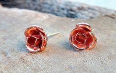 Copper Rose Earrings Solid Copper Romantic Warm Copper by KoloNaia