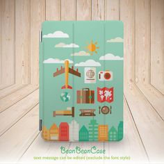 Travel holiday mood mint green sunny day smart cover case for iPad mini case, new iPad mini retina 2 case, iPad Air case (A31)