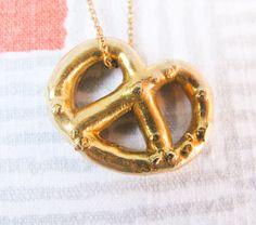 Brass Pretzel Necklace by GoldTeethBrooklyn on Etsy, $80.00