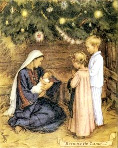 Cicely Mary Barker - Religious Works - Card Design - Because He Came Painting Cicely Mary Barker, Christmas Nativity, Christmas Past, Christmas Images, Mary And Jesus, Theme Noel, Madonna And Child, Illustration, Virgin Mary