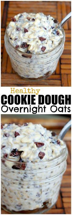 HEALTHY Cookie Dough Overnight Oats! I have such a sweet tooth and rarely have savory dishes for breakfast. Thats why I LOVE this recipe, because the sweet chocolate and creamy cashew butter satisfy my sweet tooth while providing healthy fats and protein! Really, who doesnt want to eat cookie dough for breakfast?!