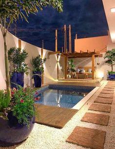 Small Backyard Pools, Backyard Patio Designs, Swimming Pools Backyard, Swimming Pool Designs, Backyard Landscaping, Kleiner Pool Design, Modul Sofa, Rooftop Design, Small Pool Design