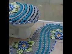 Tejido en espiral en dos colores a crochet juego de baños - YouTube