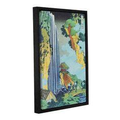 ArtWall Katsushika Hokusai Ono Waterfall on the Kisokaido Gallery-Wrapped Floater-Framed Canvas, Size: 16 x 24, Green