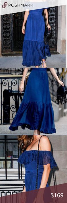 Royal Blue Ruffled Off the Shoulder Maxi Dress Royal Blue Ruffled Off the Shoulder Casual Maxi Dress. Off the shoulder neckline with ruffled cascade down chiffon trim, celebrity A-line maxi dress. No brand. New never worn. Fits a size 6. Comes with belt. Dresses Maxi