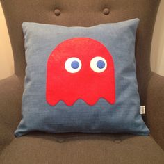 Pac-man ghost cushion handmade by me for small bedroom IKEA hack makeover, Coming soon to my blog,http://maflingo.com