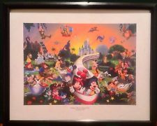 """Walt Disney """"A Magical Time in a Magical Place"""" Print Framed 45 Characters litho"""