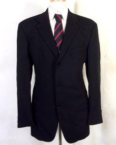 126226ce0 euc Hugo Boss Navy Blue 100% Wool Einstein Blazer Sportcoat 3 Button 42 R