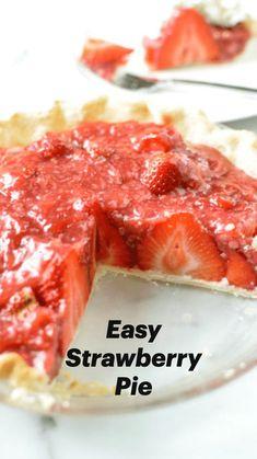 Strawberry Muffin Recipes, Easy Strawberry Desserts, Fresh Strawberry Pie, Easy Summer Desserts, Summer Dessert Recipes, Fruit Recipes, Recipes For Fresh Strawberries, Pie Recipes, Strawberry Pudding
